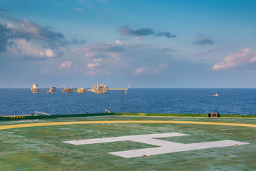 Helicopter pad with production platfrom in gulf of Thailand