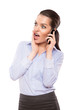 shocked businesswoman with a cell phone