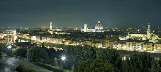 Panorama of Florence at night from Piazza Michelangelo