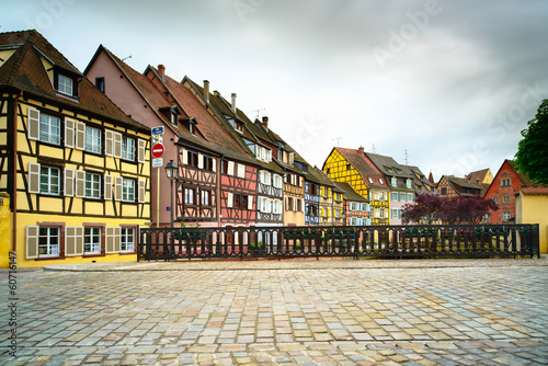 Colmar, Petit Venice, bridge and traditional houses. Alsace, Fra