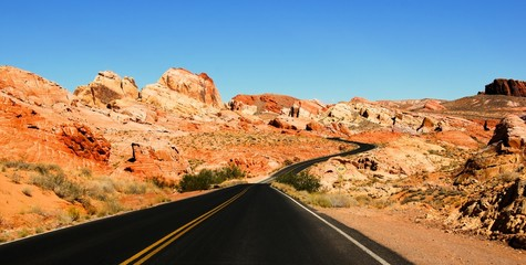 Road through scenic Valley of Fire State Park, Nevada, USA