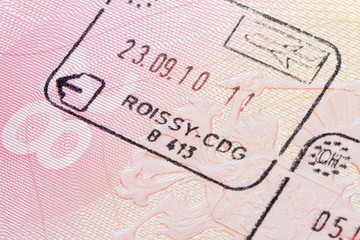 French immigration stamp in passport