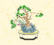 Colorful ink styled drawing of bonsai tree with iris flowers