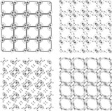 Set of monochrome geometric seamless patterns. background
