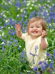 Pretty Infant In Flowers