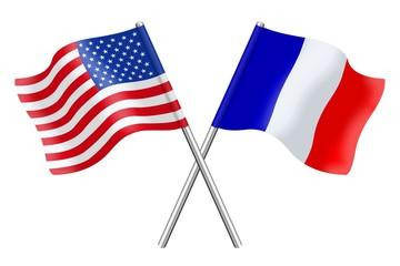 Drapeaux : duo France Etats-Unis