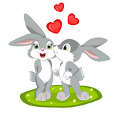 Rabbit couple kissing