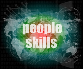 people skills words on digital touch screen