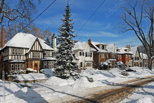 suburban houses in winter