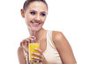 Нappy young woman with apple juice. Vegetarian dieting - health