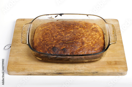 Bread in a cooking pan