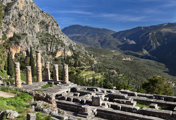 The ruins of Temple of Apollo.Delphi,Greece.
