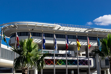 view of miami international airport flags