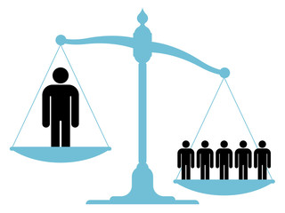 Unbalanced scale with a single man and a group