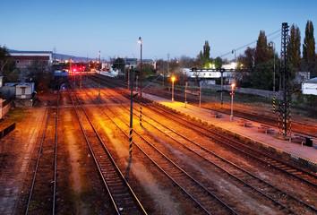 Train railroad at night