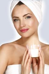 Portrait of a beautiful woman enjoying spa treatment