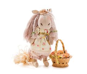 Textile handmade toy on white background - horse