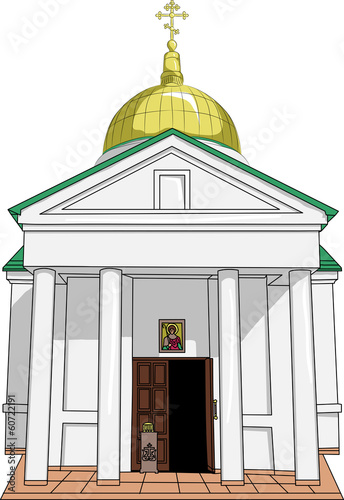 Old Russian orthodox temple. Vector.