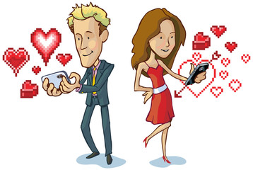 man and woman texting with pixel hearts vector cartoon