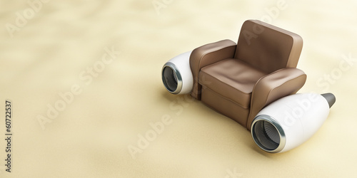 aircraft engine leather armchair beach