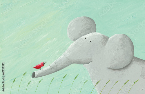 Elephant and red bird