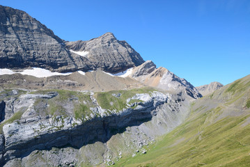 Popular mountain Taillon in summer.