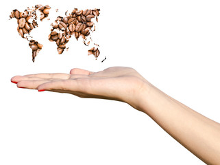 Girl Hand Holding World Map Coffee Beans Isolated On White