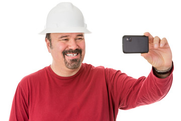 Workman posing for a self-portrait