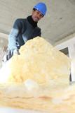 craftsman insulating a wall