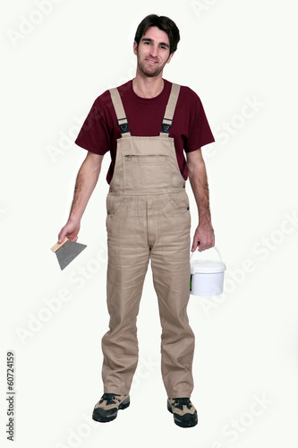 Decorator ready to start plastering