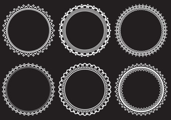 Set of round frames on a black background