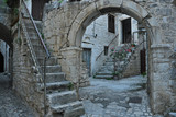 Stairways in an old courtyard in Trogir, Croatia