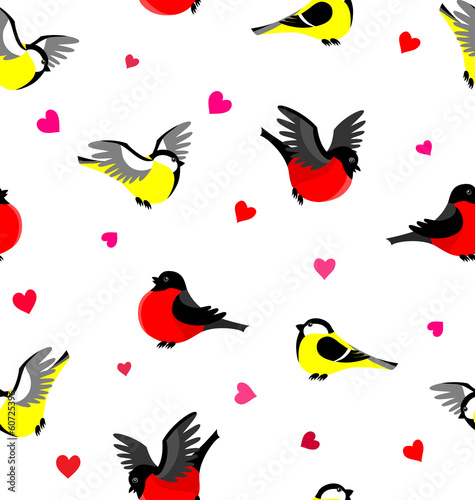 Vector seamless pattern with bullfinches and tits.