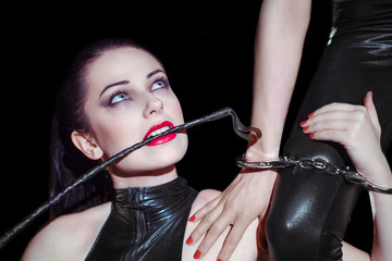 Lesbian couple foreplay bdsm