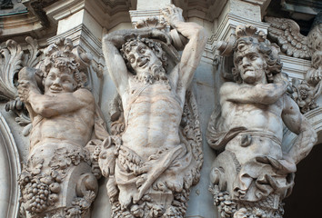 Figures of satyrs in the Zwinger palace in Dresden