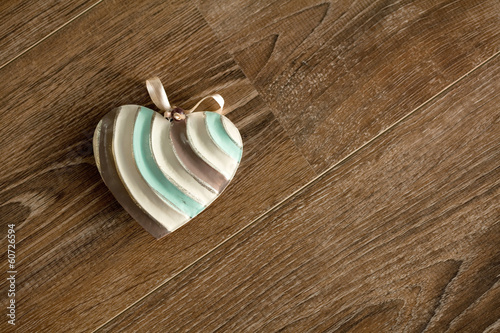 canvas print picture Vintage grunge heart lying over wood background