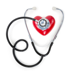 stethoscope on red heart