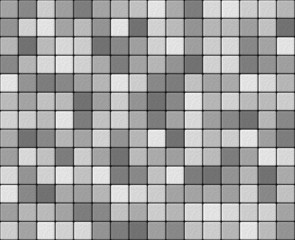 Gray and white mosaic with small granular tiles