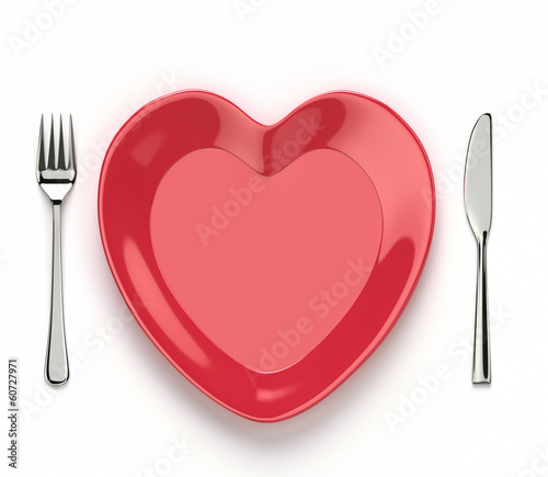 Tuinposter Boord Heart shaped dish