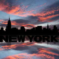 New York skyline reflected with text and sunset illustration