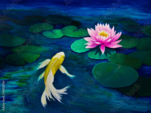 Yellow Butterfly Koi and a Pink Water Lily