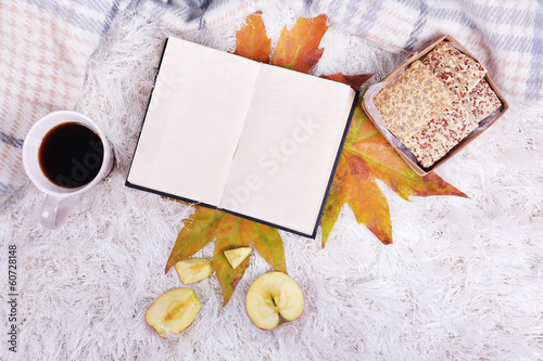 canvas print picture Composition with warm plaid, book, cup of hot drink,