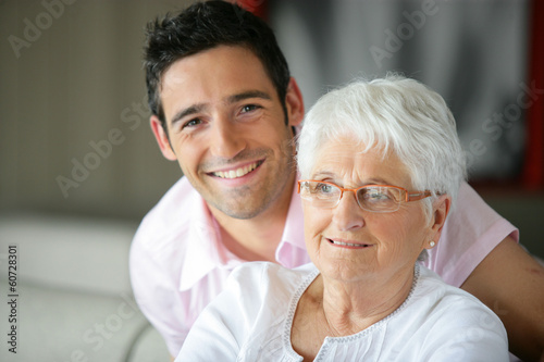 Old lady and her grandson spending time together