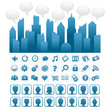 Blue city with social media icons and people avatars