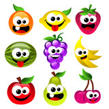 Fototapety Set of fun smiling cartoon fruits