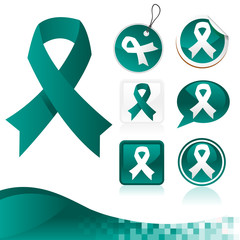 Set of teal awareness ribbons