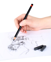 Drawing picture of drawing charcoal isolated on white