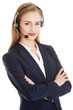 Beautiful caucasian business woman at call center.