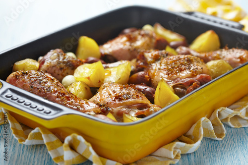 Spanish chicken casserole with chorizo