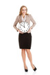 Young caucasian business woman holding clock.